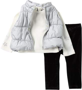Hudson Jeans Metallic Bubble Vest, Thermal Top, & Pant Set (Baby Girls)