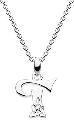Heritage Sterling Silver Celtic Initial T Necklace of Length 45.7cm