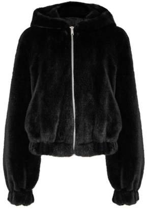 Helmut Lang Black Hooded Faux Fur Jacket