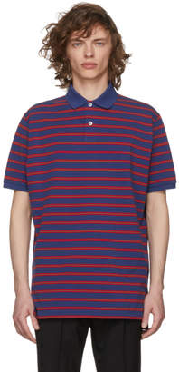 Gucci Blue and Red Stone Wash Polo