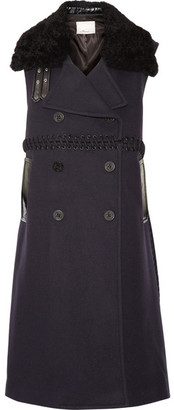 3.1 Phillip Lim - Whipstitched Shearling And Wool-blend Gilet - Midnight blue $1,695 thestylecure.com