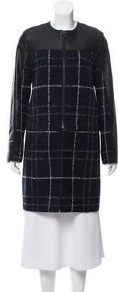 Akris Punto Wool/ Leather Blend Knee- Length Coat