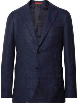 Isaia Storm-Blue Slim-Fit Wool, Silk And Linen-Blend Hopsack Blazer