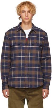 John Elliott Navy Check Quilted Lining Shirt