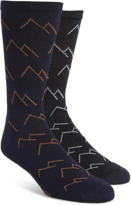 Icebreaker Lifestyle Mountains 2-Pack Merino Wool Blend Light Crew Socks