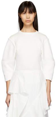 Enfold (エンフォルド) - Enfold ホワイト ハーフ Milano 3D スリーブ セーター
