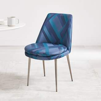 west elm Finley Low-Back Upholstered Dining Chair - Lattice Ribbon