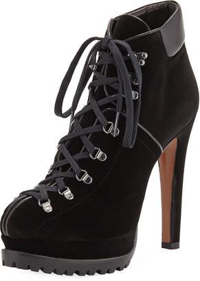 Alaia Suede Platform Lace-Up Boots