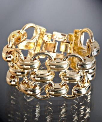 Kenneth Jay Lane gold plated link bracelet