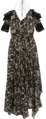 Preen by Thornton Bregazzi Dana Ruffle-Trimmed Floral-Print Silk Crepe De Chine Midi Dress