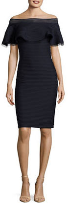 Tadashi Shoji Solid Off-The-Shoulder Dress $319 thestylecure.com