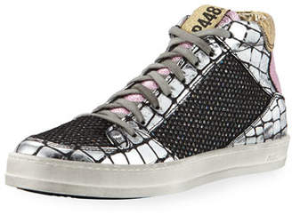 Croco P448 Queens Mid-Top Sneakers in Leather & Glitter Mesh