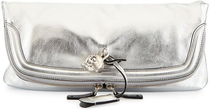 Alexander McQueen Skull Padlock Metallic Fold-Over Clutch Bag, Silver