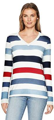 Amazon Essentials Women's V-Neck Stripe Sweater