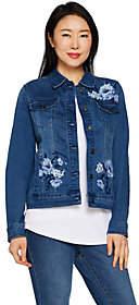Martha Stewart Floral Embroidered Denim JeanJacket