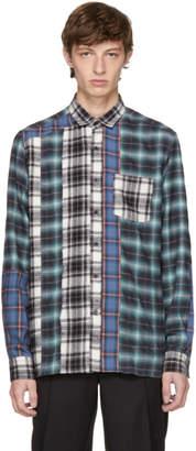 Lanvin Blue and Black Flannel Multi Check Shirt