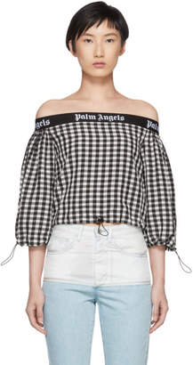 Palm Angels Black and White Balloon Crop Top