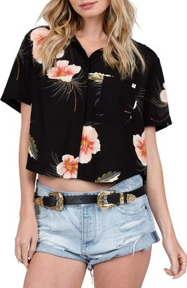 Women's Volcom Fox Tail Palm Print High/low Crop Top $45 thestylecure.com