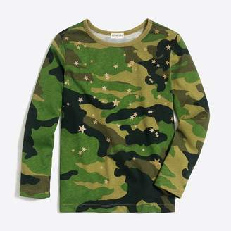 J.Crew Factory Girls' long-sleeve camouflage stars graphic T-shirt