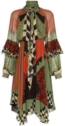 Etro silk patchwork tie neck midi dress