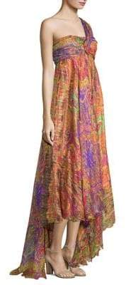 Etro 50th Anniversary One-Shoulder Printed Silk Empire-Waist Dress
