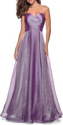 La Femme Strapless Metallic Chiffon Evening Dress
