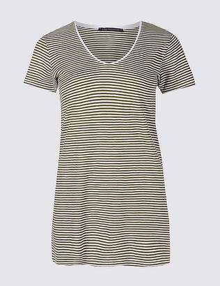 Marks and Spencer Pure Cotton Striped Lightweight T-Shirt