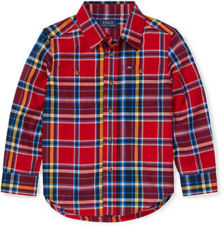 Ralph Lauren Childrenswear Twill Plaid Button-Down Shirt, Size 5-7