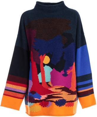 Paul Smith Intarsia Wide Neck Sweater