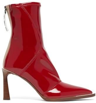 Fendi Fframe Patent Effect Neoprene Boots - Womens - Red