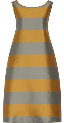 Rochas Bow-Embellished Striped Satin-Twill Dress