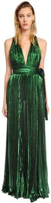 Elie Saab Plisse Lamé Crepe Georgette Dress