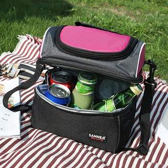 ONLINE Medium Large Thermal Insulated Lunch Box Lunch Cooler Bag Tote shoulder with Zip Closure Double Decker Dual Compartment Black School Picnic Travel