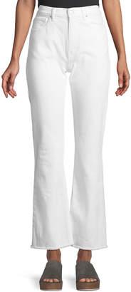 Acynetic Stella High-Waist Wide-Leg Jeans w/ Fray Hem