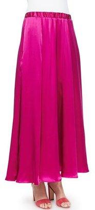 Neiman Marcus Silk Pull-On Maxi Skirt, Fuchsia $250 thestylecure.com