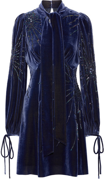 Marc Jacobs Marc Jacobs - Pussy-bow Embellished Velvet Mini Dress - Storm blue