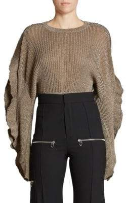 Chloé Scallop Sleeve Lurex Rib Knit Sweater