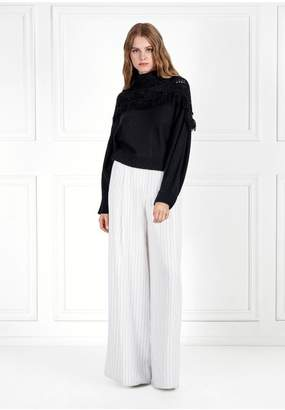 Rachel Zoe Andie Fringed Cowl Neck Knit Sweater