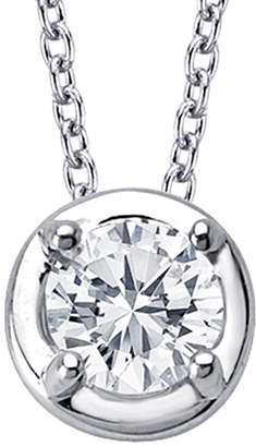 Lafonn Classic Platinum Plated Simulated Diamond Bezel-Set Solitaire Necklace