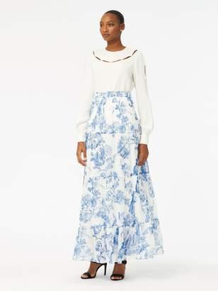 Oscar de la Renta Floral Toile Silk-Chiffon Pintuck Skirt