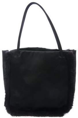 02d48e3cf0d5 Prada Satin Mink Fur-Trimmed Bag