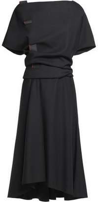 Vionnet Coated Grosgrain-Trimmed Gathered Wool-Blend Crepe Dress