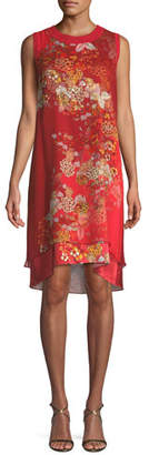 Elie Tahari Malaya Sleeveless Floral-Print Dress