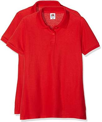 Fruit of the Loom Women's Ladies Polo 65(35 T-Shirt Pack of 2