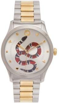 Gucci Timeless Stainless Steel Snake Face Watch - Womens - Gold