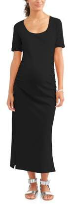 Oh! Mamma Maternity Short Sleeve Scoop Neck Solid Maxi Dress with Ruched Sides-- Available In Plus Sizes