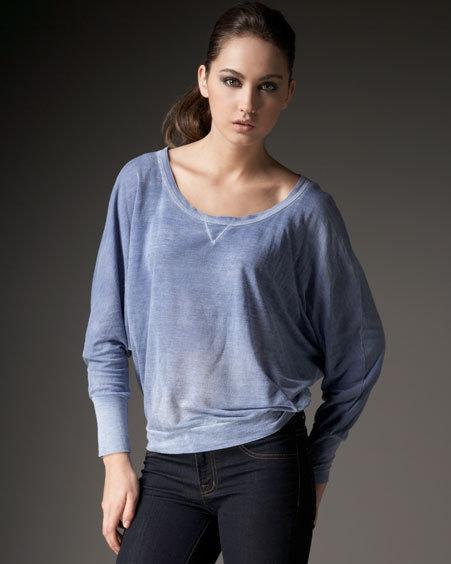Splendid Distressed Jersey Sweatshirt