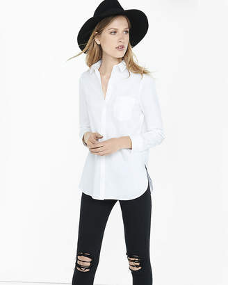 Express White Long Sleeve Essential Tunic Shirt