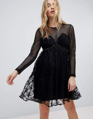 New Look Fishnet Lace Pleat Dress