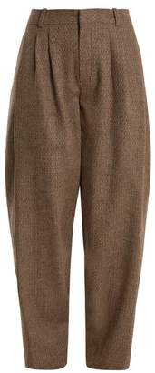Chloé Wide Leg Wool Blend Tweed Trousers - Womens - Brown